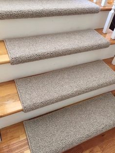Tweed LinenTaupe Ecco Tex Blend New Zealand Wool! TRUE Bullnose™ Carpet  Stair Tread Runner Replacement For Style, Comfortu0026Safety (Sold Each)