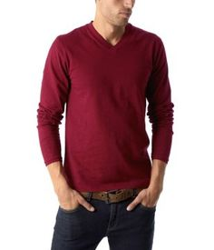 T-shirt col V homme bordeaux - Promod