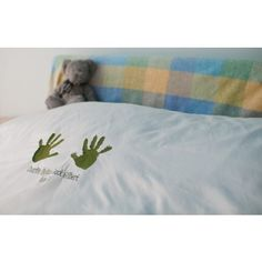 Handprint bedding - embroidered and personalised - I love this!
