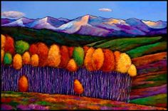 """Elysian, by Johnathan Harris.  26"""" x 38"""".  Acrylic on Canvas.  ~ Modern expressionistic landscape of a Southwest art painting on canvas. Aspen trees high in the mountains of Southern Colorado, near Breckenridge.  Aspen Trees in the Rocky Mountains during the fall. ~"""
