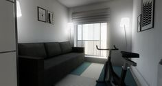 Home gym or guest bedroom by MiD Interior Design And Graphic Design, Sofa, Couch, 3d Rendering, Gym, Bedroom, Furniture, Home Decor, Settee