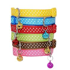 LaReine Polka Dots Print Nylon Dog Collar with Cute Bell Pink 58 Wide 1016 Neck * Check this awesome product by going to the link at the image.(This is an Amazon affiliate link and I receive a commission for the sales)