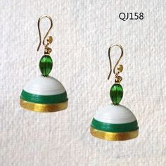 Green hanging quilled jhumkas
