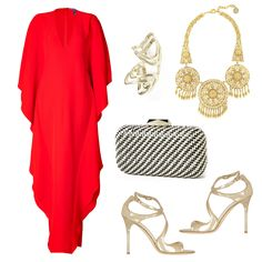 "Wear This Caftan To A Fancy Black Tie Event ""I would wear this Ralph Lauren caftan dressy for a black tie event or in a dream scenario, on the Riviera! I love this poppy summer red mixed with gold accessories like a beautiful bib necklace and metallic strappy sandals."" Caftan Dress, Ralph Lauren ,$4945 Lang Metallic Heels, Jimmy Choo ,$850 Woven Miniaudiere, Sondra Roberts ,$128 Gold-Plated Necklace, Ben Amun ,$590 14K Gold Double Bermuda Knuckle Ring, Mason Stanley ,$3000"