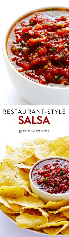 This restaurant-style salsa is quick and easy to make, and it's absolutely irresistible! | gimmesomeoven.com