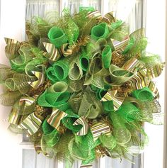 Curly Deco Mesh Wreath Green Gold Wall Door Wreath