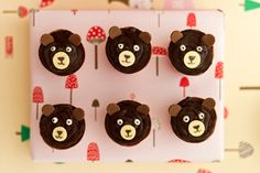 Bear Cupcakes from handmade charlotte's DIY Forest Friends Birthday Party. Bear Cupcakes, Yummy Cupcakes, Cupcake Cakes, Cupcakes Kids, Party Cupcakes, Cup Cakes, Bear Birthday, Friend Birthday, 2nd Birthday