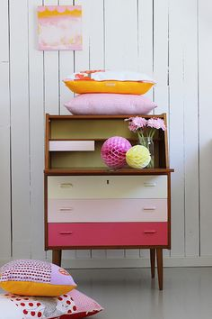 pink and white retro style chest of drawers / desk unit