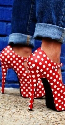 Red, high heeled shoes with white polka dots.