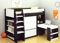 VECTRA CABIN BUNK BED LOFT DESK BOOKCASE CUPBOARD TIMBER WHITE NEW PH 0435344775