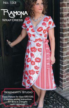 RAMONA Wrap Dress sewing pattern by Serendipity - Women's dress pattern sizes 2-20.