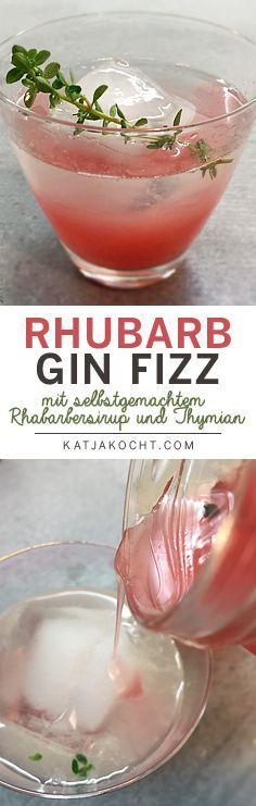 Der Rhubarb Gin Fizz Cocktail mit selbstgemachtem Rhabarber-Sirup und Thymian schmeck frisch, herb und fruchtig - ein richtiger Frühlingscocktail! Zutaten für ein Glas: - 2 cl Gin - 1 cl selbstgemachter Rhabarber-Sirup - einen Spritzer frischen Zitronensaft - Eiswürfel - ein Thymianzweig Das Rezept dazu hier auf Katjakocht.com >