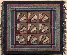 Hooked Rug, Graphic Fan Pattern, Item188