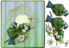 Two Birds on an Ornamental Frame on Craftsuprint designed by Diane Hannah - Two Birds on an Ornamental Frame. Includes decoupage elements. This card is suitable for many occasions. - Now available for download!