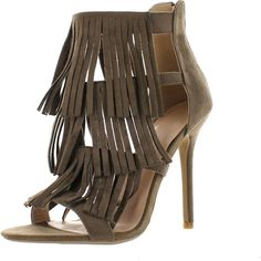 Wild Diva Womens Adele-177 Strappy Layered Fringe Stiletto Heel Dress... (£25) ❤ liked on Polyvore featuring shoes, sandals, fringe shoes, stiletto sandals, strappy stiletto sandals, dress sandals and strap sandals