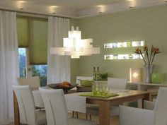 Fantastic Green Dining Interior Decoration Ideas Dining Room Lighting Modern With White Chair And Pendant Light Combined With Beige Wooden Table Furniture Design Room, Küchen Design, Dining Room Design, Home Design, Design Ideas, Design Trends, Contemporary Dining Room Lighting, Farmhouse Dining Room Lighting, French Country Dining Room