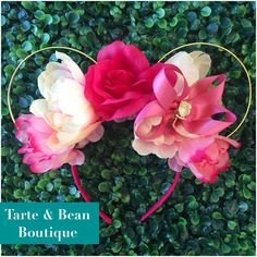 Ready to ship inspired by Friar Rose Sleeping Beauty Princess Aurora floral Flower wire mouse Ears Headband by TarteandBeanBoutique on Etsy https://www.etsy.com/listing/384697804/ready-to-ship-inspired-by-friar-rose