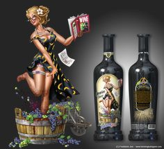 Pin-up themed wine label design for Portrait Winemakers. One out of several pin-up themed wine labels. Earl Moran, Otto Schmidt, Robert Mcginnis, Scott Campbell, Gil Elvgren, Pin Up Illustration, Illustration Pictures, Art Illustrations, Digital Art Gallery