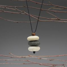 Nature Necklace of beach stones  cairn of beach by SueDavisJewelry, $48.00