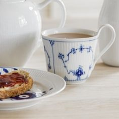 Blue Fluted Mega Plate, and Blue Fluted Plain High Handle Cup
