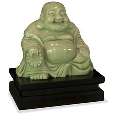 Hand Carved Jade Buddha with Stand. He is a symbol of happiness, wealth and an innocent contented joy. The stroking of Buddha's belly is said to signify bountiful wealth and prosperity. Believed to bring much luck, the laughing Buddha must always be invited into his new home, resulting in positive Chi and much happiness in return. Oriental Buddha statue.