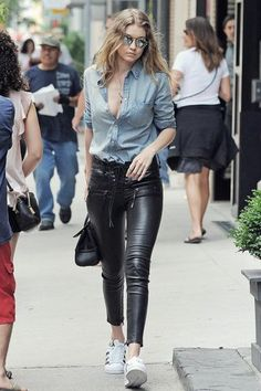 Gigi Hadid wearing Light Blue Denim Shirt, Black Leather Skinny Jeans, White Leather Low Top Sneakers, Black Leather Satchel Bag | Lookastic Casual Work Outfits, Pretty Outfits, Cool Outfits, Stylish Outfits, Stylish Jeans, Girly Outfits, Jean Outfits, Beautiful Outfits, Color Combinations For Clothes