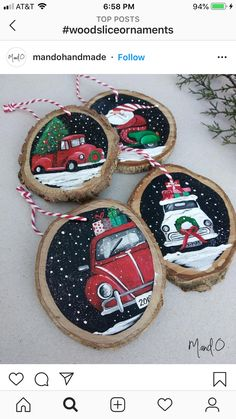 Painted Christmas Ornaments, Christmas Wood, Diy Christmas Gifts, Christmas Projects, Christmas Decorations, Christmas Paintings, Holiday Crafts, Wood Slices, Crafting