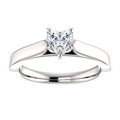 10kt White Gold 5x5mm Center Heart Imitation Diamond Solitaire Engagement Ring...(ST122574:1223:P).! Price: $329.99