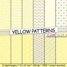 "Buy Yellow digital paper: ""YELLOW PATTERNS"" with chevron, crosshatch, stripe, quatrefoil, honeycomb, fleur-de-lis, herringbone, fish scale by clairetale. Explore more products on http://clairetale.etsy.com"