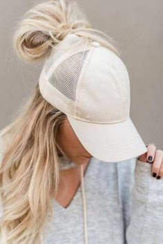 b2917f1b5 Mesh baseball cap with messy bun hole and adjustable closure. These messy  bun baseball hats are GENIUS! Cut out hole on top for your ponytail or messy  bun ...