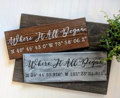 Address Coordinates Wood Sign, Latitude Longitude Sign, Where It All Began Sign, Custom Wood Sign, G Farmhouse Kitchen Decor, Farmhouse Signs, Rustic Farmhouse, Fixer Upper Decor, Client Gifts, Custom Wood Signs, Personalized Signs, Rustic Decor, House Warming