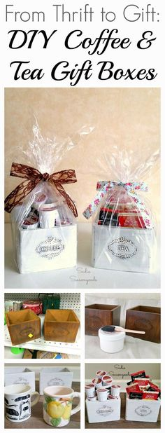 How to create a DIY gift box with a repurposed vintage wooden coffee or tea canister bin and a thrift store mug by Sadie Seasongoods / Coffee Gift Baskets, Fall Gift Baskets, Wooden Crates Gifts, Wooden Gift Boxes, Tea Gifts, Coffee Gifts, Fall Gifts, Holiday Gifts, Winter Holiday