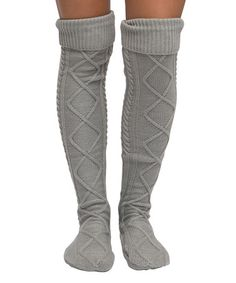 Another great find on #zulily! Gray Cable-Knit Over-the-Knee Socks #zulilyfinds
