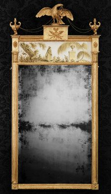 """George III Verre-Eglomise Mirror. Carved & Gilt Wood and Mirrored Glass with a Verre-Eglomise Panel Depicting Charlotte at Werther's Tomb, from the Novel: Die Leiden des Jungen Werthers (The Sorrows of Young Werther) by Goethe, 1774. Panel is Signed and Dated; """"L. Phillips, 1792"""". England. Circa 1792. 56"""" x 27"""" (142cm x 69cm)."""