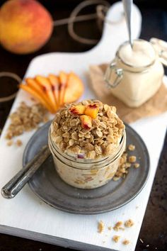 Peach Streusel Overnight Oats  Overnight or refrigerator oats or oatmeal recipes. Easily gluten free and dairy free if you adjust.