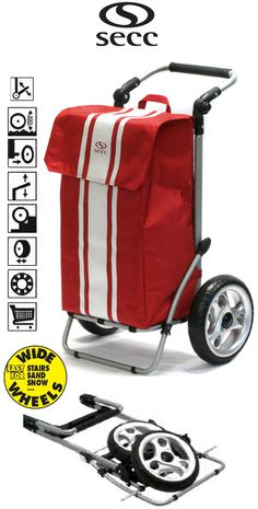 Secc Le Mans Heavy Duty 2 Wheel Shopping Trolley com alça ajustável e Grande Macio Grande Red Wheels Packing Tips, Le Mans, Trekking, Baby Strollers, Cart, Baskets, Wheels, Handle, Tools