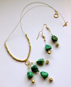 SoftFlexGirl: Tutorial Tuesday - Turquoise Nugget Cluster Dangle Necklace and Earrings