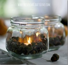 Fall Mason Jar Crafts - Mason Jar Craft Ideas for Fall - Fall Craft Ideas using Mason Jars - Pottery Barn Acorn Mason Jar Lantern