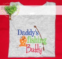 Daddy's Fishing Buddy Boys Personalized Fishing Embroidery Appliqued Shirt or Onesie by ABC Creative Learning