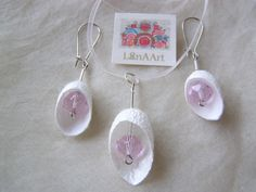 d301f2275738 Items similar to Silk Angels jewelry set of pendant and earrings of white  silk cocoons and pink crystals on Etsy