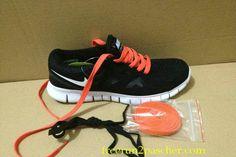 buy cheap  Femmes Nike Free Run 2 Noir blanc Total Orange Lace,top quality shoes onsale just: $46.99