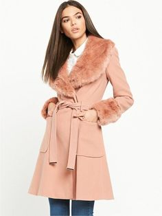 Miss Selfridge Belted Waist Coat With Faux Fur Collar - Pink