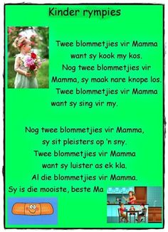 Twee blommetjies vir Mamma wat sy kook my kos . School Rhymes, School Songs, Kids Poems, Children Songs, Nursery Rhymes Lyrics, Dutch Language, Rhymes Songs, Teaching Time, Rhymes For Kids