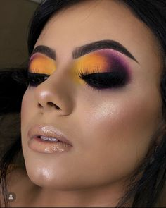 dramatic eye makeup: yellow orange and purple smokey eyeshadow Beauty Makeup Tips, Makeup Inspo, Makeup Inspiration, Smokey Eyeshadow, Eyeshadow Makeup, Hair Makeup, Dramatic Eye Makeup, Colorful Eye Makeup, Makeup Is Life