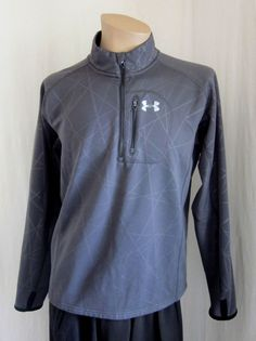 UNDER ARMOUR Cold Gear Mens Gray 1/2 Zip Thumb Hole Sweat Jacket L Large Regular #Underarmour #CoatsJackets