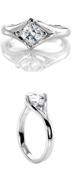 Modern, unique, lovely diamond solitaire engagement ring. The band of this ring flows around all sides of the princess cut center stone, holding it in a bezel setting. Moselle from Knox Jewelers.  www.knoxjewelers.biz