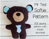 Mr Ted - Teddy PDF Softie Sewing Pattern & Tutorial Style Instructions (with Instant Download)