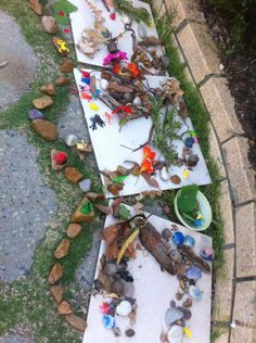 Note how the children have carefully followed the line of grass with the rocks. That shows these children have advanced spatial awareness - Kate's Family Day Care- Image shared by Child's Play Music ≈≈