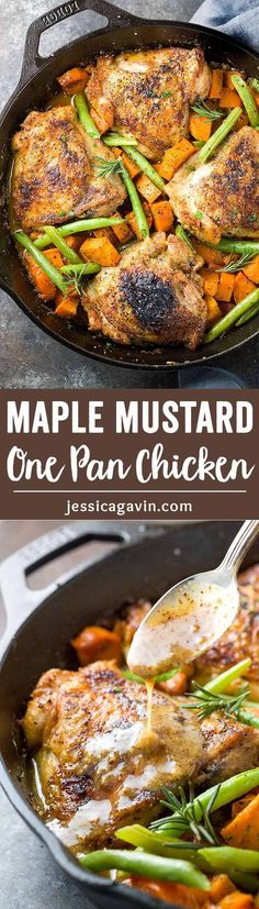 One Pan Chicken with Maple Mustard Sauce - An easy one pan chicken skillet recipe bursting with flavor! Crispy thighs roasted with sweet potatoes, green beans, and a sweet but tangy sauce. via @foodiegavin