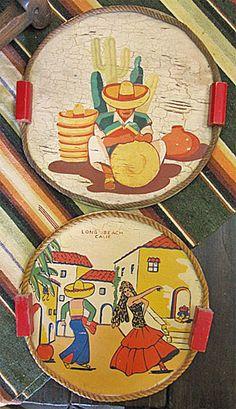 Vintage Crackleware Rope Trays